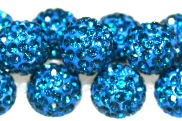 8mm Blue 70 Stone  Pave Crystal Beads- Half Drilled  PCBHD08-070-026